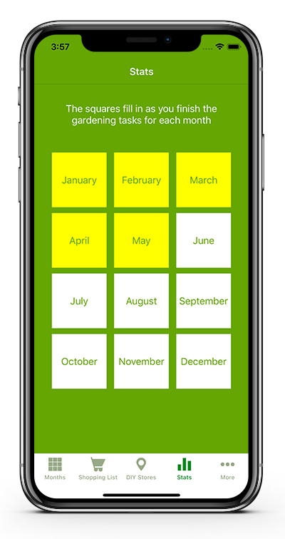 Track your completed tasks for the year  to watch your green thumb status go up!