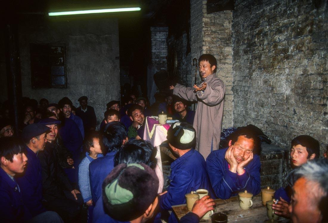 Storyteller at a teahouse, Chongqing, China
