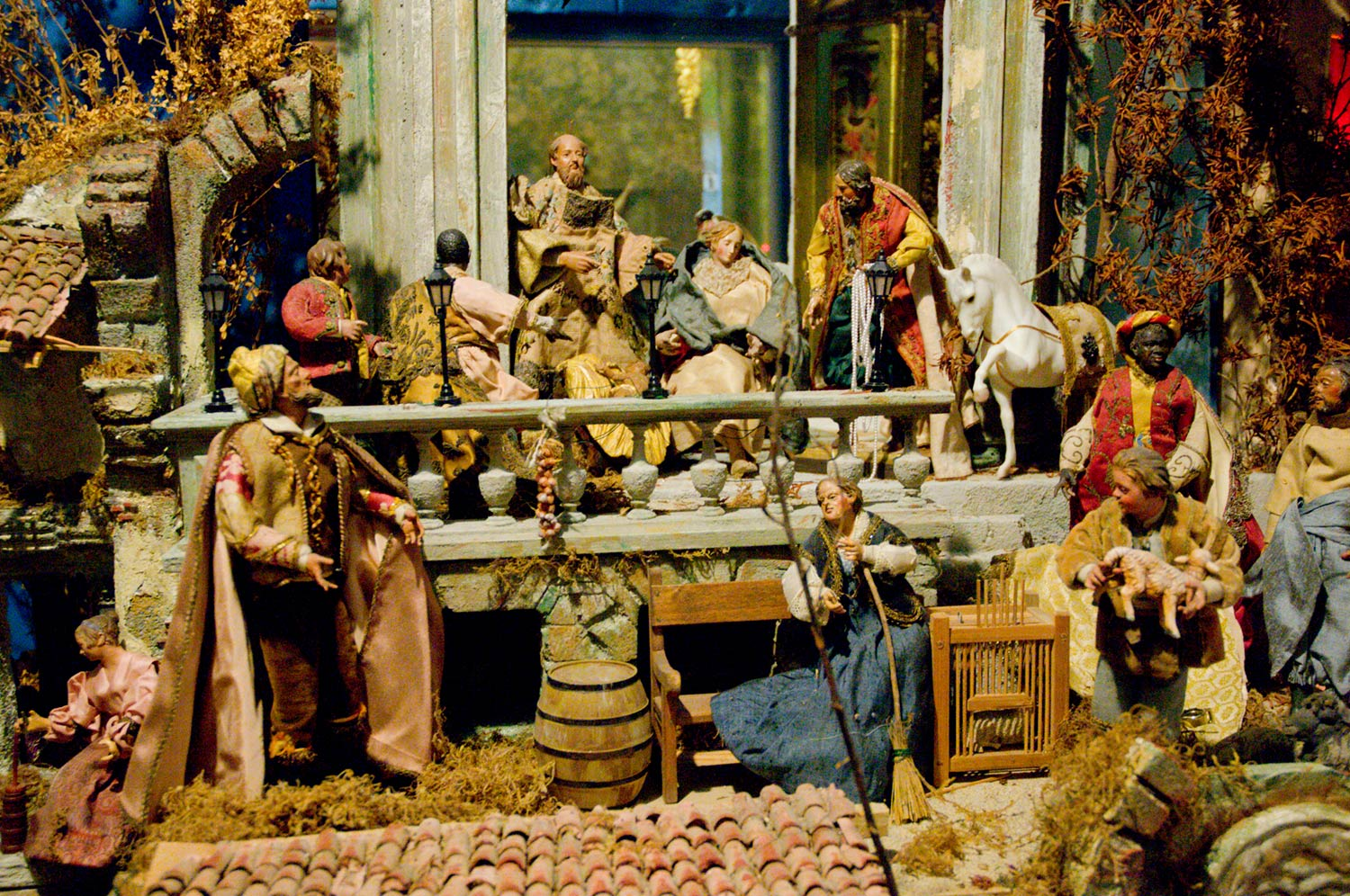 Why do some large nativity scenes have non-Biblical figures?