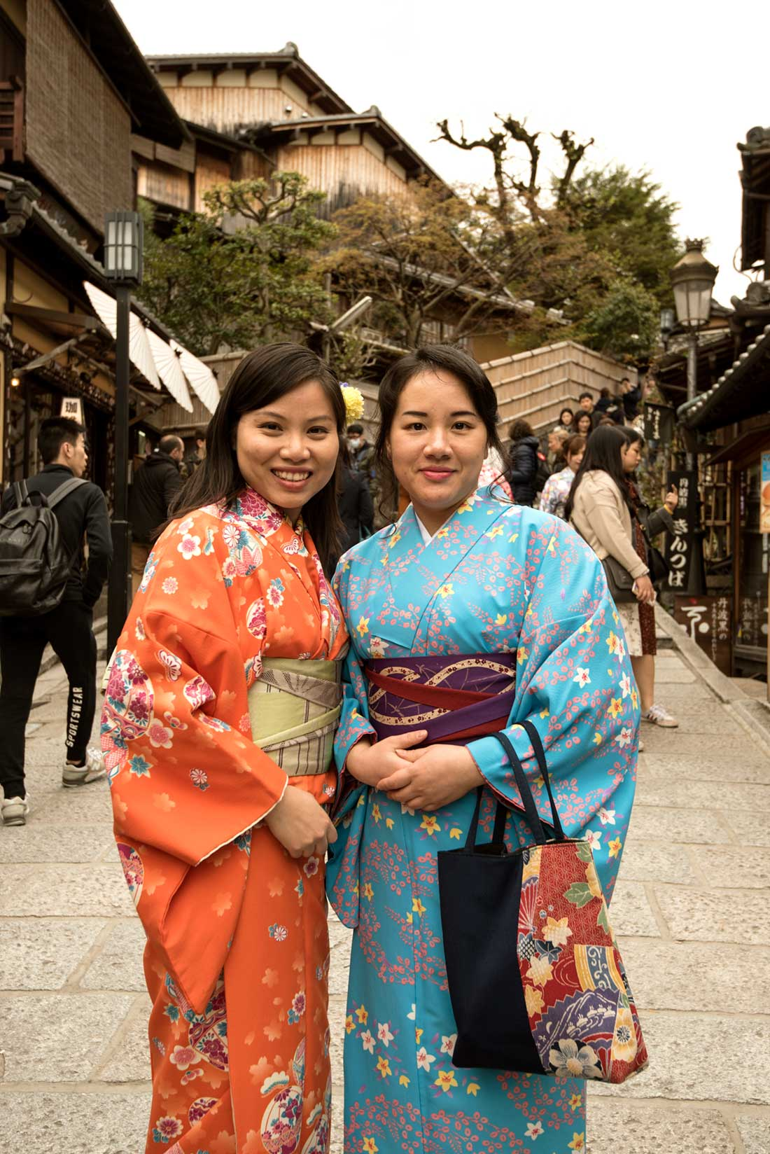 Chinese tourists in kimonos