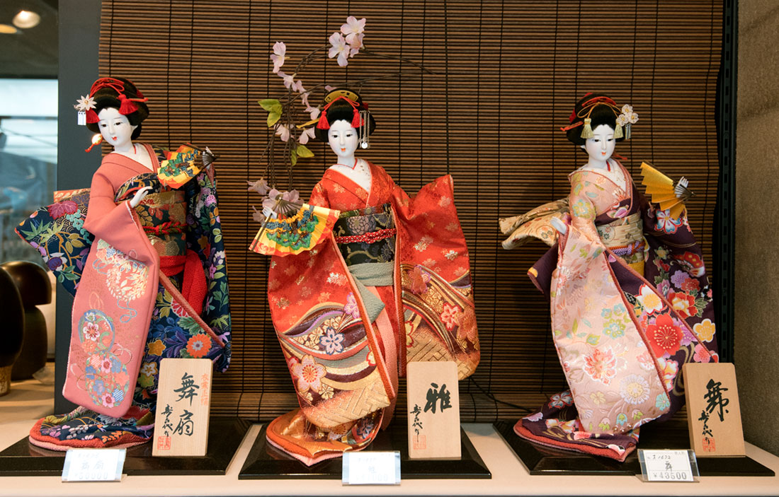 Japanese dolls on sale in Kyoto