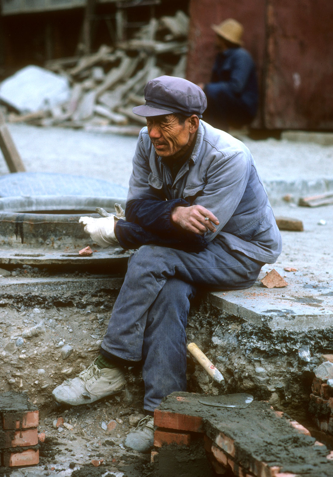 A worker in Beijing, China.
